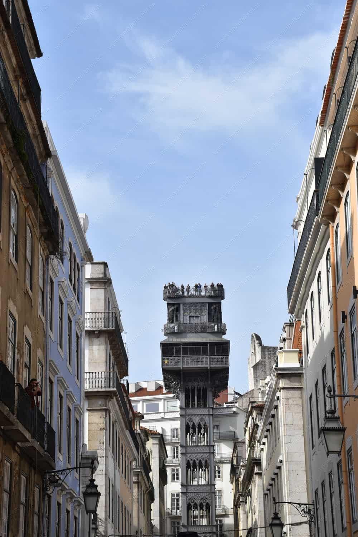Elevador de Santa Justa in Baixa Area Lisbon
